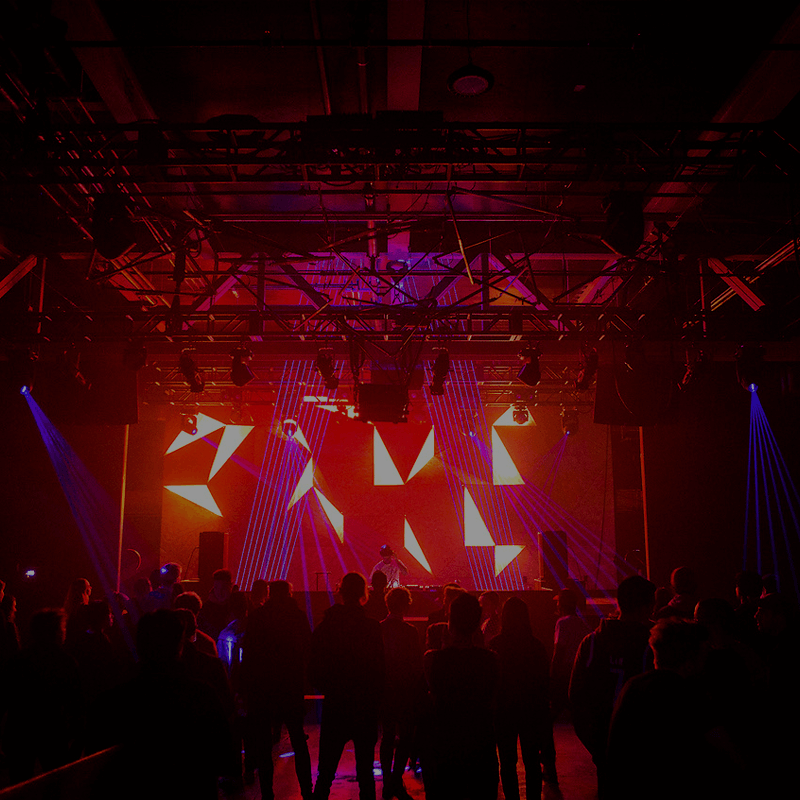 Laser and projection show on stage