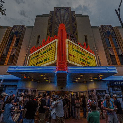 Shot of the facade with lit up marquee
